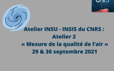 Atelier INSU – INSIS du CNRS : Atelier 2 « Mesure de la qualité de l'air »